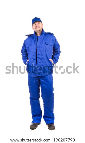 Worker in blue workwear. Isolated on a white background.