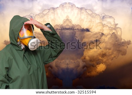 Worker in gas mask on chemical smoke background. - stock photo