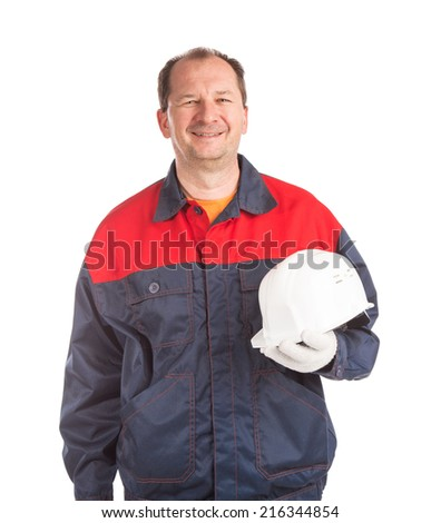 Worker in great mood. Isolated on a white background.  - stock photo