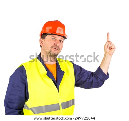 Worker in hard hat and yellow vest. Isolated on a white background. - stock photo