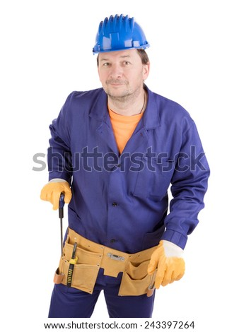 Worker in hard hat holding screwdriver. Isolated on a white background. - stock photo