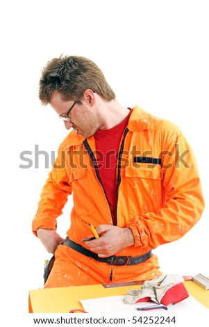 worker in orange overall searching tools on a belt, isolated on white
