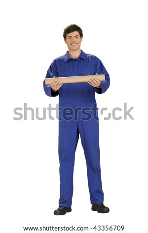 worker in overall with tube