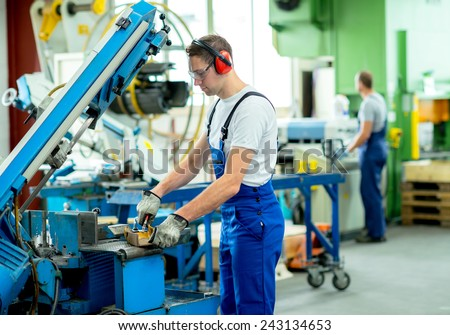 Worker Protective Clothing Factory Using Machine Stock Photo ...