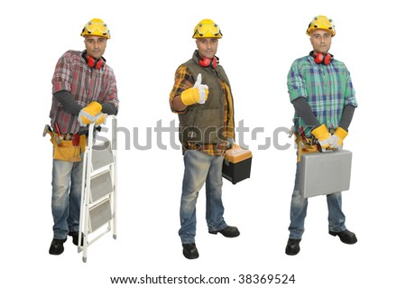 Worker in several positions isolated in white - stock photo