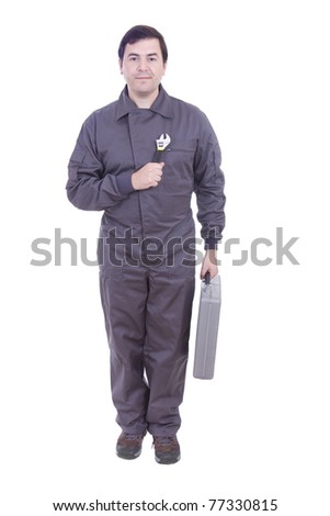 worker in uniform with the tool box