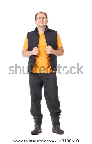 Worker in vest and glasses. Isolated on a white background.