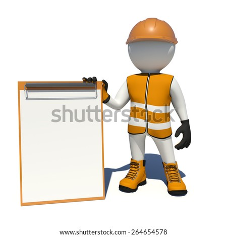 Worker in vest, shoes and helmet holding empty clipboard. Isolated render on white background - stock photo