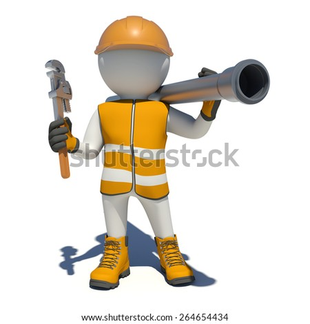 Worker in vest, shoes and helmet holding wrench and sewer pipe. Isolated render on white background - stock photo