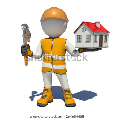 Worker in vest, shoes and helmet holding wrench and small house. Isolated render on white background - stock photo