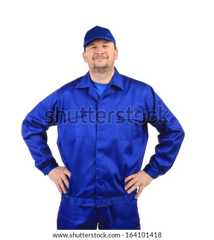 Worker in winter workwear. Isolated on a white background. - stock photo