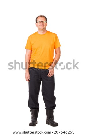 Worker in workwear and glasses. Isolated on a white background.