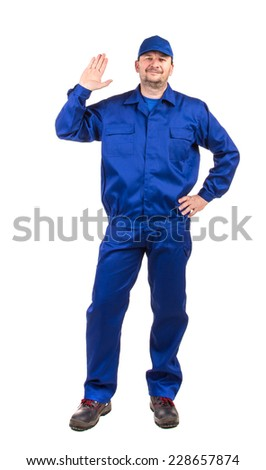 Worker in workwear. Isolated on a white background.