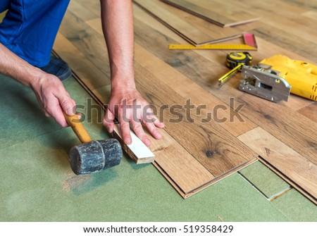 Worker Install Laminate Floor Stock Photo 519358429 Shutterstock