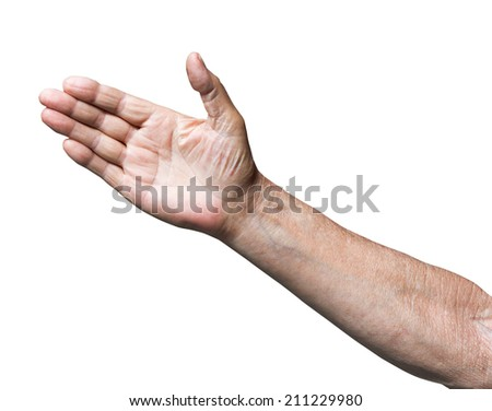 worker invites by open palm - hand gesture isolated on white background - stock photo