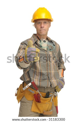 Worker isolated in white - stock photo