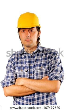 Worker isolated on white - stock photo