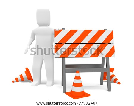 Worker leaning on a construction barrier. 3d image. Isolated on white background