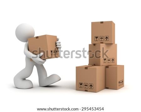 worker man carrying cardboard box - stock photo