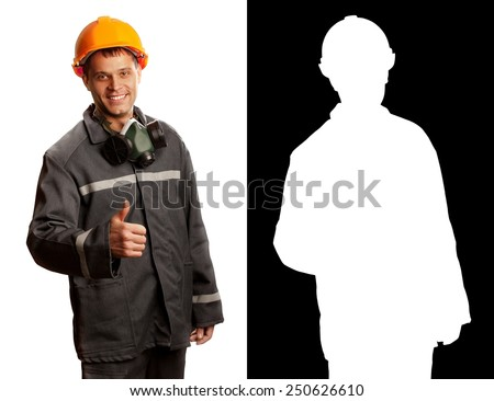 Worker man isolated on white (with clipping mask) - stock photo
