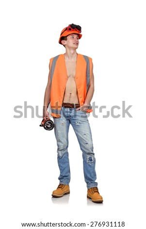 worker man with flashlight on a white background - stock photo