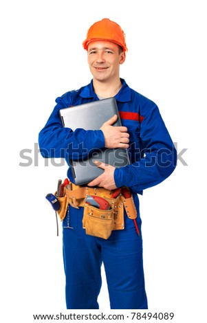 Worker man with laptop in workwear against white - stock photo