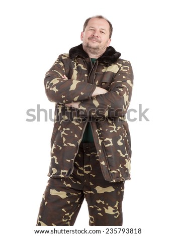 Worker military camouflage winter jacket. Isolated on a white background. - stock photo