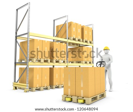 Worker moves boxes with pallet truck, isolated on white background - stock photo