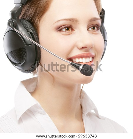 Worker of support service on connection, isolated on white background. - stock photo