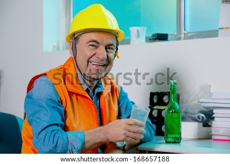 worker on a break drink and have rest