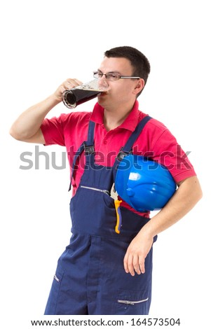 Worker on a break drinking beer. Isolated on white background