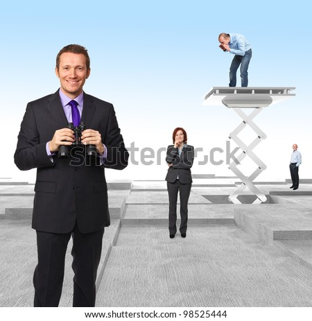 worker on 3d abstract plane