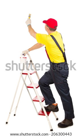 Worker on ladder with brush. Isolated on a white background.