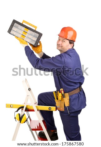 Worker on ladder with hammer. Worker on ladder with toolbox. Isolated on a white background. - stock photo
