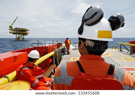 worker on the offshore rig. - stock photo
