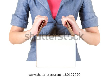 Worker open cardboard box isolate on white background - stock photo
