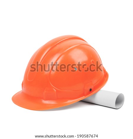 worker orange helmet and sketch on a white background - stock photo