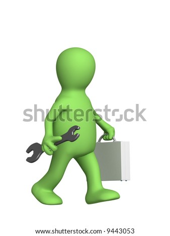 Worker - puppet with a suitcase and a wrench. Objects over white