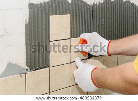 Worker Putting Tiles On Wall Kitchen Stock Photo 480531379 ...