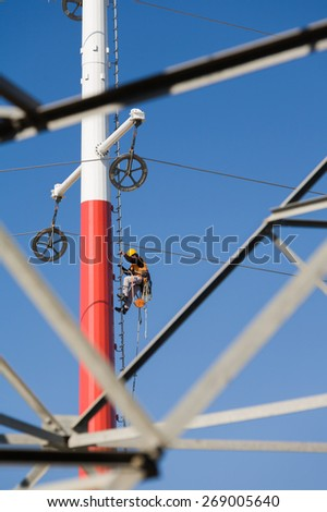 Worker repairing a high voltage industrial power energy line. Great for energy, safety and technology themes : Almada, Portugal - September 26, 2008    - stock photo