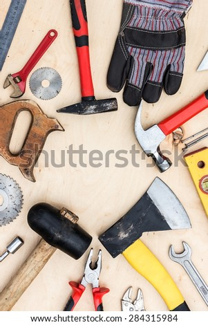 Worker set of handle tools background. - stock photo