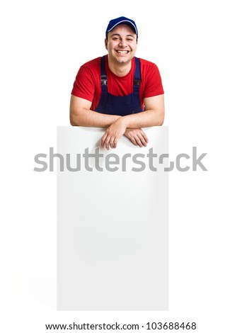Worker showing an empty board. Isolated on white - stock photo