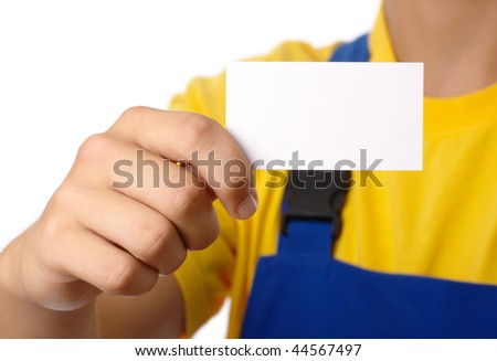 Worker showing his business card, isolated over white - stock photo