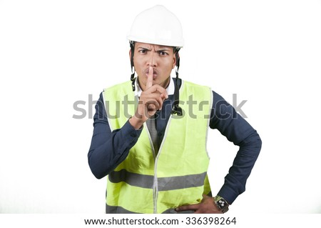Worker silencing on white background isolated - stock photo