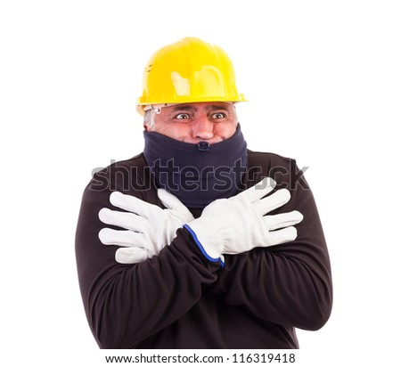 Worker suffering cold with arms crossed isolated on white background - stock photo