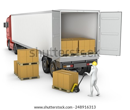 Worker unloads or loads white blank semi-trailer isolated on white background
