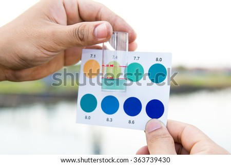 Worker use hands holding test tube with pH indicator comparing color to scale from water in shrimp pond - stock photo