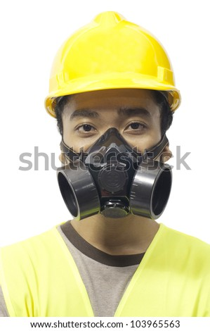 Worker wearing work gear isolated over white background