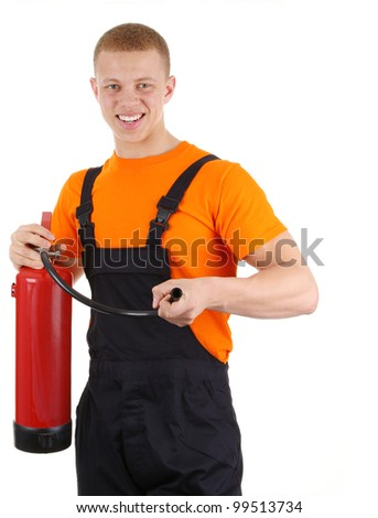 Worker with a fire extinguisher, isolated on white