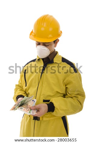 Worker with a yellow uniform counting euro banknotes